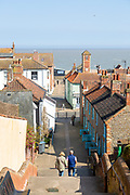 Town rooftops from Town Steps view out to North Sea, Aldeburgh, Suffolk, England, UK
