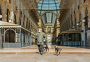 Milan, empty space during the massive shut down. Galleria Vittorio Emanuele