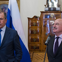 Sergei Lavrov (L) Foreign Minister of Russia and his Hungarian counterpart Janos Martonyi (R) talk during a press conference in Budapest, Hungary on May 02, 2013. ATTILA VOLGYI