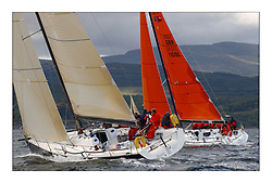 Yachting- The first days inshore racing  of the Bell Lawrie Scottish series 2003 at Tarbert Loch Fyne.  Light shifty winds dominated the racing...Azure a Dubois 40,IRL 40 & Kerr 11.3 Blue Bell in Class one...Pics Marc Turner / PFM