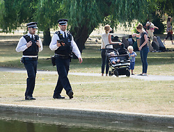 © Licensed to London News Pictures. 12/07/2018. London, UK. Police patrol Regent's Park near the US Ambassador's residence where President Trump will stay later.  Photo credit: Peter Macdiarmid/LNP