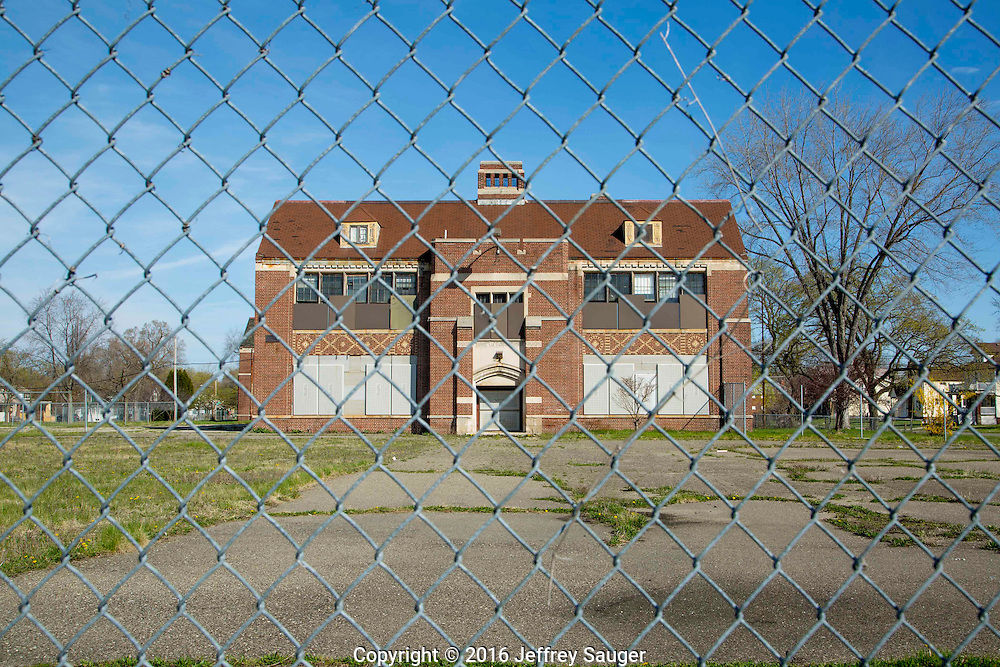 Guyton School in the Jefferson-Chalmers Historic Business District and neighborhood in Detroit, Michigan, Wednesday, April 20, 2016. <br /> <br /> On September 7, 2016, The National Trust for Historic Preservation gave the Jefferson-Chalmers neighborhood in Detroit's lower east side the distinction of a National Treasure. This is the first in the state of Michigan and the first project under the National Trust's ReUrbanism initiative. (Photo by Jeffrey Sauger )