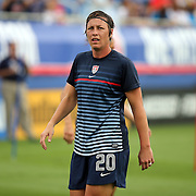 U.S. forward Abby Wambach (20) warms us prior to an international friendly soccer match between the United States Women's National soccer team and the Russia National soccer team at FAU Stadium on Saturday, February 8, in Boca Raton, Florida. The U.S. won the match by a score of 7-0. (AP Photo/Alex Menendez)