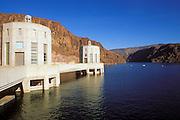 Lake Mead and clock displaying Nevada time on Hoover Dam, Hoover Dam National Historic Landmark, Nevada/Arizona, USA