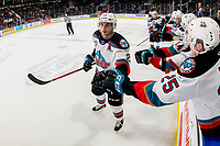 KELOWNA, BC - MARCH 7: Matthew Wedman #20 of the Kelowna Rockets celebrates a second period goal against the Lethbridge Hurricanes with fist bumps past the bench at Prospera Place on March 7, 2020 in Kelowna, Canada. (Photo by Marissa Baecker/Shoot the Breeze)