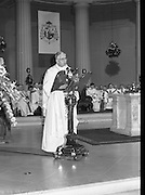 Episcopal Ordination Of Desmond Connell. (R74).1988..06.03.1988..03.06.1988..6th March 1988..Following the death of Archbishop Kevin McNamara in April '87, Pope John Paul II surprisingly nominated Desmond Connell for the position of Archbishop of Dublin. The ordination of Dr Connell took place at the Pro-Cathedral in Dublin...Archbishop Desmond Connell is pictured giving his first sermon in his new role.
