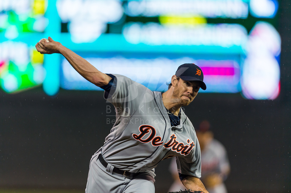 Doug Fister (58) of the Detroit Tigers pitches during a game against the Minnesota Twins on August 14, 2012 at Target Field in Minneapolis, Minnesota.  The Tigers defeated the Twins 8 to 4.  Photo: Ben Krause