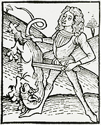 'Killing a dragon to extract a precious stone transformed, alchemically, by the bird from an ordinary stone.  Woodcut from ''Ortus Sanitatis'', Strasbourg, 1483 by Johannis de Cuba.'