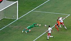 14-06-2010 VOETBAL: FIFA WORLDCUP 2010 NEDERLAND - DENEMARKEN: JOHANNESBURG<br /> Ibrahim Afellay scoort bijna de 3-0 maar Poulsen redt vanaf de doellijn<br /> ©2010-FRH- NPH/  Mark Atkins (Netherlands only)