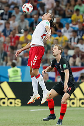 July 1, 2018 - Nizhny Novgorod, Russia - Ivan Strinic (R) of Croatia national team and Yussuf Yurary Poulsen of Denmark national team vie for the ball during the 2018 FIFA World Cup Russia Round of 16 match between Croatia and Denmark on July 1, 2018 at Nizhny Novgorod Stadium in Nizhny Novgorod, Russia. (Credit Image: © Mike Kireev/NurPhoto via ZUMA Press)