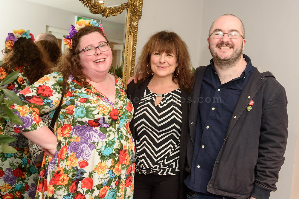 Alison Spittle, Tara Flynn and Simon Mulholland in the Trident Hotel, Kinsale where they were appearing as part of the Words by Water Literary Festival in Kinsale.<br /> Picture. John Allen