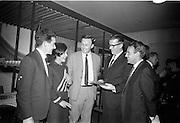 20/09/1967<br /> 09/20/1967<br /> 20 September 1967<br /> Gaeltarra Eireann Autumn 1967 Fashion Show at 34 Westland Row, Dublin. Picture shows (l-r): Brendan Halpin; Billie Taylor and Jimmy Hourihan ( all of J. Hourihan); Noel McGrath, Tweed Sales Manager, Gaeltarra Eireann and Douglas Thornton of Doreen (Dublin) Ltd. at the show.
