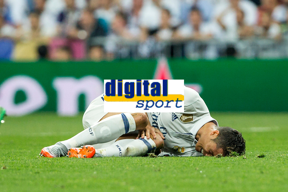 Cristiano Ronaldo of Real Madrid reacts during the match of Champions League between Real Madrid and FC Bayern Munchen at Santiago Bernabeu Stadium  in Madrid, Spain. April 18, 2017. (ALTERPHOTOS)