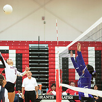 Jadee Merayo with a spike for Grants Lady Pirates in their match against the Miyamura Lady Patriots, Tuesday, Sept. 25, 2018 at Grants High School.
