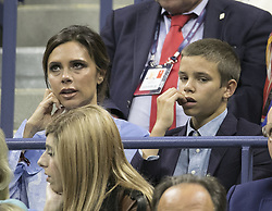 August 30, 2017 - Flushing Meadows, New York, U.S - Victoria Beckham and her son Romeo attend the game between Roger Federer and Francis Tiafoe on Day Two of the 2017 US Open at the USTA Billie Jean King National Tennis Center on Monday August 29, 2017 in the Flushing neighborhood of the Queens borough of New York City. (Credit Image: © Prensa Internacional via ZUMA Wire)