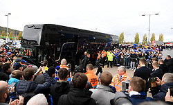 Leicester City's Jamie Vardy (left) and James Maddison (right) arrive for the Premier League match at the Cardiff City Stadium, Cardiff.