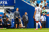 Bournemouth Manager Scott Parker shouts instructions to his team from the dug-out during the EFL Sky Bet Championship match between Cardiff City and Bournemouth at the Cardiff City Stadium, Cardiff, Wales on 18 September 2021.