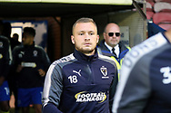 AFC Wimbledon midfielder Dean Parrett (18) walking onto the pitch during the EFL Sky Bet League 1 match between AFC Wimbledon and Gillingham at the Cherry Red Records Stadium, Kingston, England on 12 September 2017. Photo by Matthew Redman.