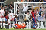 GOAL - James Tomkins of Crystal Palace (out of picture) scores his sides 1st goal to make it 1-0 as Joe Ledley of Crystal Palace ® celebrates.  Premier League match, Crystal Palace v Stoke city at Selhurst Park in London on Sunday 18th Sept 2016. pic by John Patrick Fletcher, Andrew Orchard sports photography.