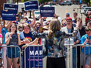 09 JUNE 2019 - DES MOINES, IOWA: Author MARIANNE WILLIAMSON, a Democratic candidate for the US presidency, speaks at Capital City Pride Fest. Many of the Democratic presidential candidates campaigned at Capital City Pride Fest in Des Moines Saturday. Iowa traditionally hosts the the first selection event of the presidential election cycle. The Iowa Caucuses will be on Feb. 3, 2020.                   PHOTO BY JACK KURTZ