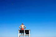 Watchful lifeguard on duty, Nauset Beach, Cape Cod National Seashore, Cape Cod, MA