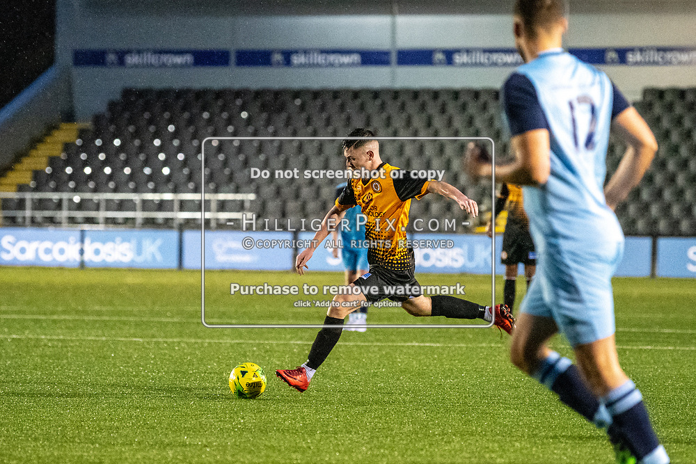 BROMLEY, UK - NOVEMBER 09: Lee Lewis, of Cray Wanderers FC, lines up another shot on goal during the BetVictor Isthmian Premier League match between Cray Wanderers and Cheshunt at Hayes Lane on November 9, 2019 in Bromley, UK. <br /> (Photo: Jon Hilliger)