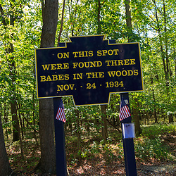 Newville, PA - September 25, 2016: The Babes in the Woods sign marks the spot on Route 233 where the bodies of three murdered girls were discovered.