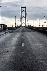 Pics of the closed Forth Road Bridge from the north, Fife side at North Queensferry. Pic of the south bound road.
