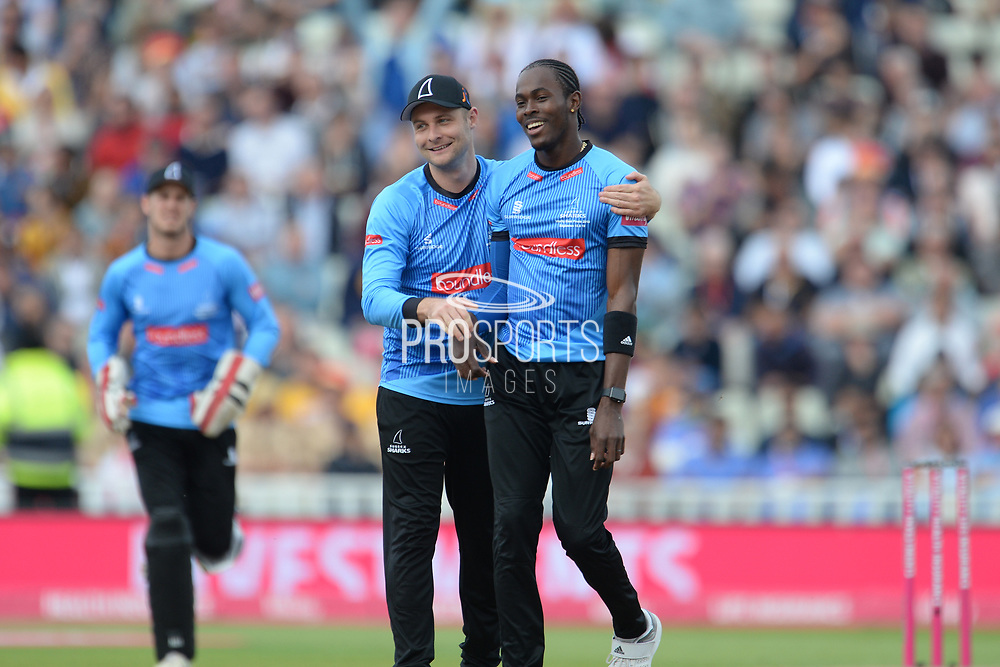 Luke Wright Jofra Archer of Sussex celebrate the wicket of Johann Myburgh during the Vitality T20 Finals Day semi final 2018 match between Sussex Sharks and Somerset County Cricket Club at Edgbaston, Birmingham, United Kingdom on 15 September 2018.