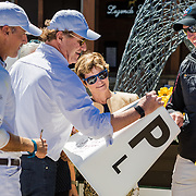Mark Bellissimo presents Doug Payne with a dressage letter signed by the winner, Matthew Brown in the Advanced for his narrow loss to Matthew Brown based on his dressage score at the 2017 USEA American Eventing Championships presented by Land Rover and Nutrena on Sunday, September 3, 2017, at the Tryon International Equestrian Center, in Mill Spring, NC.