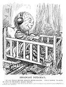 """Broadcast Diplomacy. """"Hullo, world, British Foreign Office calling. 'Uncle Ramsay' is going to give us to-night's secret treaty."""" [On April 1st Mr Ponsonby stated that it was the intention of the Government in future to lay all treaties on the Table of the House before ratification.] (cartoon showing the World as a child in a cot bed listening to the wireless radio with headphones as his toy planes, tanks and soldiers are on the floor during the InterWar era)"""
