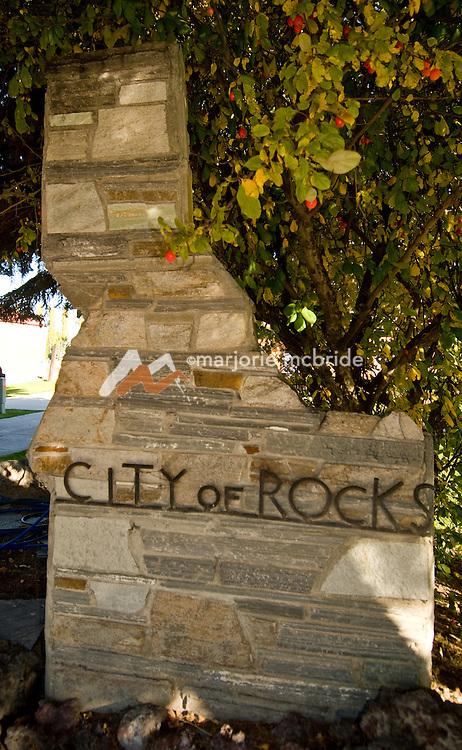 Idaho, Cassia County, Oakley.  City of Rocks sign.