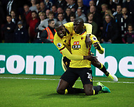 Watford's M'Baye Niang celebrates scoring his sides opening goal during the Premier League match at Vicarage Road Stadium, London. Picture date: April 4th, 2017. Pic credit should read: David Klein/Sportimage