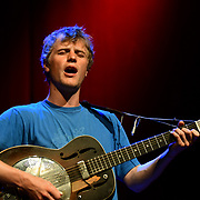 Johnny Flynn a British-South African musician and his band preforms at the Just Say No - Artists Against Trump & War host by Stop the War Coalition, Trump is not welcome in the UK at The Shaw Theatre on 8th July 2018.