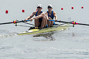 Poznan, POLAND, 21st June 2019, Friday, Morning Heats, USA. W2-/1 (b) KALMOE Megan and EISSER Tracy, FISA World Rowing Cup II, Malta Lake Course, © Peter SPURRIER/Intersport Images,<br /> <br /> 10:02:07