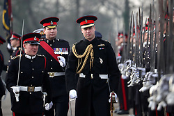 The Duke of Cambridge (centre)represents the Queen as the Reviewing Officer at The Sovereign's Parade at Royal Military Academy Sandhurst in Camberley.