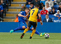 Football - 2016/2017 Premier League - Leicester Ciity V Arsenal. <br /> <br /> Robert Huth of Leicester City with a sliding clearance ahead of Alexis Sanchez of Arsenal at The King Power Stadium.<br /> <br /> COLORSPORT/DANIEL BEARHAM