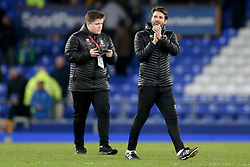 Lincoln City Manager Danny Cowley (right) applauds the fans at the end of the match