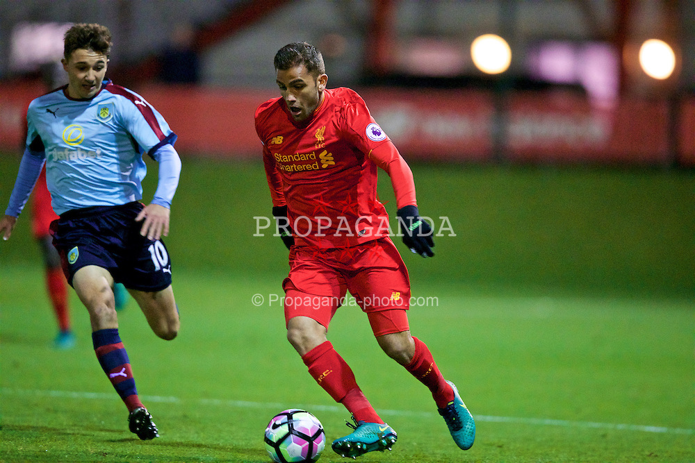 KIRKBY, ENGLAND - Wednesday, November 23, 2016: Liverpool's Juanma in action against Burnley during the Lancashire Senior Cup 2nd Round match at the Academy. (Pic by David Rawcliffe/Propaganda)