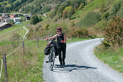 Fatigued cyclist pushes her bike up the steep climb to Guarda, Switzerland Model release available