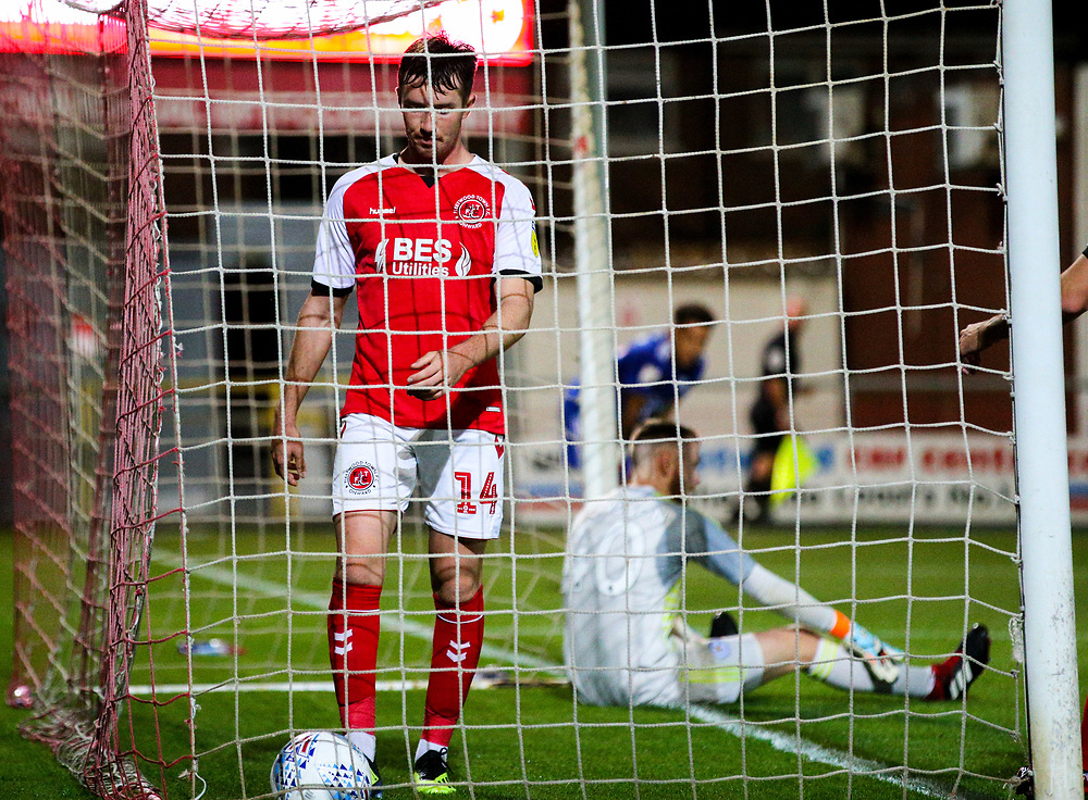 Fleetwood Town's Chris Long gathers the ball after opening the scoring<br /> <br /> Photographer Alex Dodd/CameraSport<br /> <br /> The EFL Checkatrade Trophy - Northern Group B - Fleetwood Town v Leicester City U21 - Tuesday September 11th 2018 - Highbury Stadium - Fleetwood<br />  <br /> World Copyright © 2018 CameraSport. All rights reserved. 43 Linden Ave. Countesthorpe. Leicester. England. LE8 5PG - Tel: +44 (0) 116 277 4147 - admin@camerasport.com - www.camerasport.com