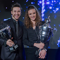 Sportswoman of the year Katinka Hosszu (R) of Hungary with his husband and coach winner of the coach of the year trophy Shane Tusup (L) of USA pose together during the Sports Stars Gala held in Budapest, Hungary on December 18, 2014. ATTILA VOLGYI