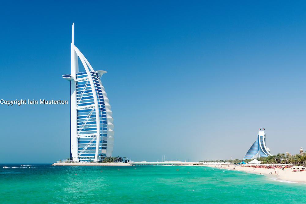 Luxury Burj al Arab Hotel on beachfront in Dubai United Arab emirates