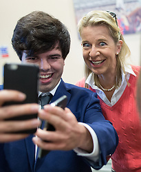 © Licensed to London News Pictures . 25/09/2015 . Doncaster , UK . A man poses for a selfie with KATIE HOPKINS at the 2015 UKIP Party Conference at Doncaster Racecourse , this morning (Friday 25th September 2015) . Photo credit : Joel Goodman/LNP