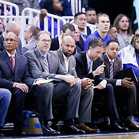 09 December 2015:  New York Knicks Jim Cleamons, Associate Head Coach Kurt Rambis are seen next to New York Knicks head coach Derek Fisher during to the Utah Jazz 106-85 victory over the New York Knicks, at the Vivint Smart Home Arena, Salt Lake City, Utah, USA.