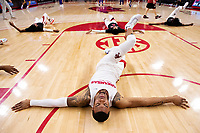 FAYETTEVILLE, AR - MARCH 4:  Reggie Chaney #35 of the Arkansas Razorbacks stretches before a game against the LSU Tigers at Bud Walton Arena on March 4, 2020 in Fayetteville, Arkansas.  (Photo by Wesley Hitt/Getty Images) *** Local Caption *** Reggie Chaney