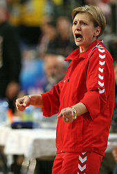Coach of Rulmentul-Urban Mariana Tirca at handball match of 1/4 finals of Women handball Cup Winners cup between RK Krim Mercator, Ljubljana and C.S. Rulmentul-Urban Brasov, Romania, in Arena Kodeljevo, Ljubljana, Slovenia, on 8th of March 2008. Rulmentul-Urban won match against RK Krim Mercator with 29:27.