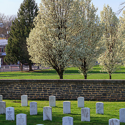 Gettysburg, PA, USA / March 23, 2012: Soldiers' graves at the Gettysburg National Cemetery.