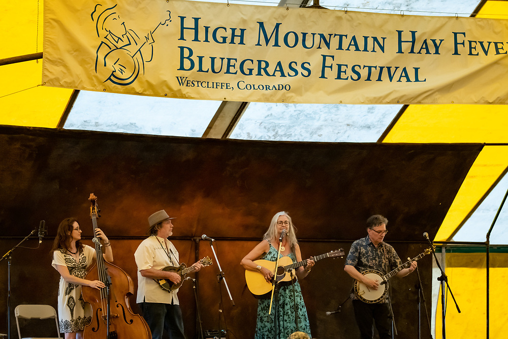 The Hard Road Trio performs with Bill Evans at the 2019 High Mountain Hay Fever Bluegrass Festival.