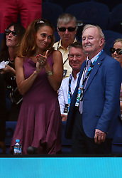 MELBOURNE, Jan. 24, 2018  Former tennis player Rod Laver of Australia (R) watches the men's singles quarterfinal between Tennys Sandgren of the United States and Chung Hyeon of South Korea at Australian Open 2018 in Melbourne, Australia, Jan. 24, 2018. (Credit Image: © Li Peng/Xinhua via ZUMA Wire)